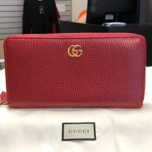 Gucci Red Leather GG Zip Around Wallet